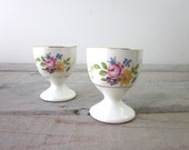 Porcelain  Egg Cups Set of Two with Floral Design