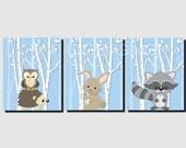 Baby Boy Nursery, Printable, Woodland Animals, Baby Girl Nursery, Forest Animals, Kids Wall Art, Raccoon, Hedgehog, Owl, Set of 3, JPG Files