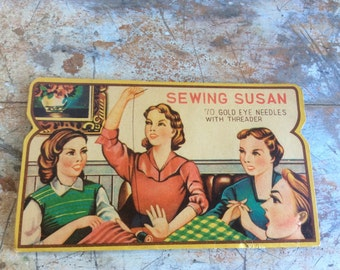 Vintage antique needle book seeing Susan 40s women hand sewing needles gold eye threader