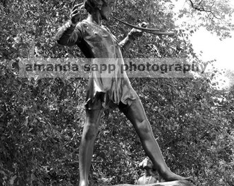 Peter Pan statue Hyde Park photograph black and white