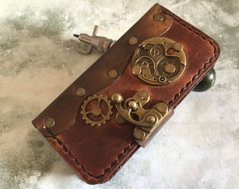 Handmade leather iPhone 5/5S case - steampunk leather iPhone 5 cover - distressed brown leather iPhone case cover - iPhone 5 case - iPhone