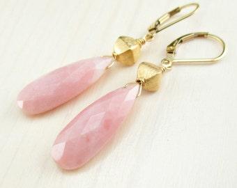Natural Pink Opal Earrings, Gold Peruvian Opal Earrings, Simple Drop Earrings, Elongated Gemstone, Gold Leverback Opal Earrings Opal Jewelry