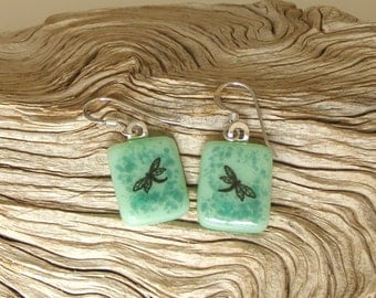 Fused Glass Jewelry - Black Dragonfly Fused Glass Earrings - Sea Green and Teal Glass - Handmade Glass Jewelry