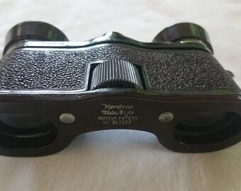 Vintage Bakelite Kershaw Brown Binoculars Opera Glasses in Leather Case 1930's - 1940's
