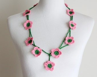 Crocheted  Green, Pink Flower Lariat, Necklace, Scarf, Scarflette