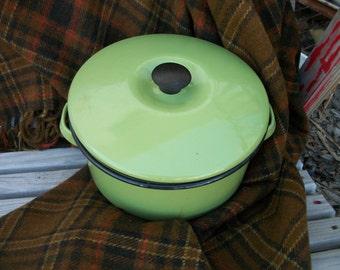Vintage Green Enamel Pot with Lid
