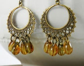 Anique Brass Chandelier earrings boho gypsy earrings Amber Honey Yellow Dangle earrings Hoop Earrings