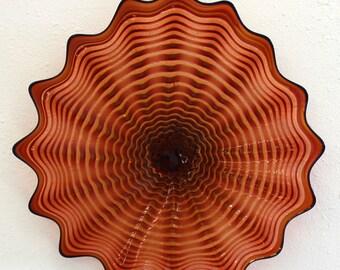 Beautiful Hand Blown Glass Art Wall Platter Bowl 6466 PEACH  ONEIL