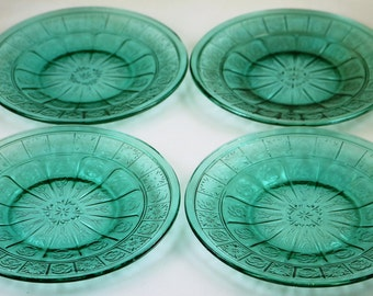 Set of 4 Vintage Doric and Pansy Teal 6 inch Plates