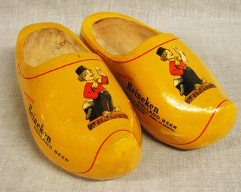 Vintage Wooden Souvenir Clogs, Holland, Beer Advertising, Dutch Boy, Shoes, Heineken, Pair of Clogs, Amsterdam, Wooden Shoes, European