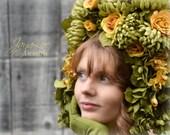 Floral Headdress / Fantasy Headpiece Headband / Flower Tiara / Spring Green Golden Yellow Rose