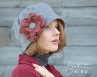 Multiway Cloche Hat in Blue Gray Corduroy and Burgundy Plaid Wool