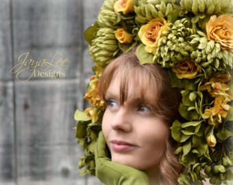 Floral Headdress Headband, Russian Headpiece Kokoshnik, Tiara, Rose flower crown
