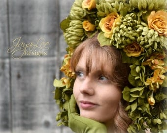 Floral Headdress / Fantasy Headpiece Headband / Flower Tiara / Spring Green Golden Yellow Rose