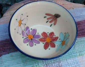 Wildflower garden flowers bowl - pottery serving dish - decorative serving bowl - salad bowl - pottery serving bowl -  wf110825