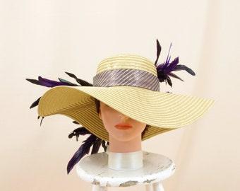 Purple and Gold Hat * Kentucky Derby Hat * Wide Brim Hat * Gold Floppy Hat * Church Hat * Ascot Hat * Fashion Hat * Formal Hat * Floral Hat