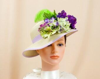 Lavender and Cream Hat * Purple Floral Hat * Church Hat * Formal Hat * Sun Hat * Summer Hat * Spring Hat * Hydrangea Hat * Floppy Hat