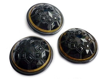 Three Antique Jet Glass Buttons - Vintage Large Gold Trimmed Black Glass Edwardian Buttons with Metal Shank - Pressed Black Glass Art Deco
