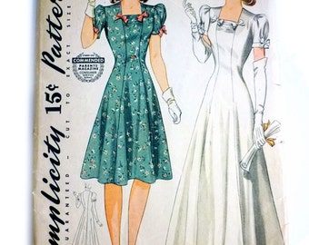 1941 Junior, Misses Gown Daytime Dress Factory Folded Size 33 - 27 1/2 - 36 - Early 1940s Wedding Gown Pattern - World War 2 Dress Pattern