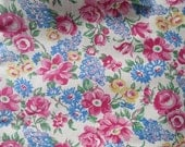 4 YARDS 1940s Vintage Pink Roses Blue Floral Fabric 36w