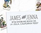 Return Address Stamp, Custom Address Stamp, Wedding address stamp, Calligraphy Stamp, Self inking or Eco Mount stamp  - Jenna