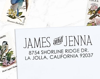 Return Address Stamp, Custom Address Stamp, Wedding address stamp, Calligraphy Stamp, Self inking or Eco Mount stamp  - Jenna