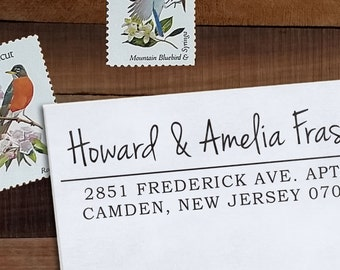 Custom Address Stamp, Return Address Stamp, Wedding address stamp, Calligraphy Address Stamp, Self inking or Eco Mount stamp - Amelia
