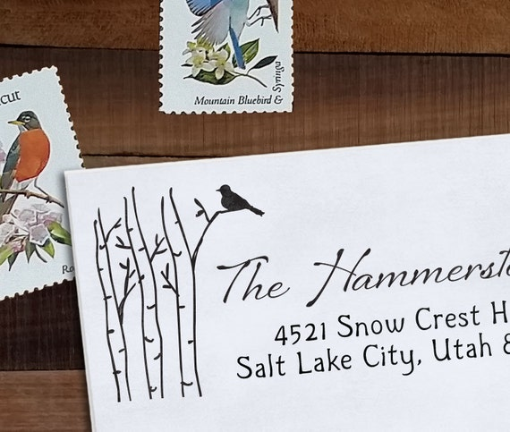 Custom Address Stamp, Christmas Address, Wedding address stamp, Calligraphy Address Stamp, Self inking or Eco Mount stamp - Birch and Bird