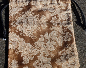 Gold and Cream Tapestry Drawstring Bag