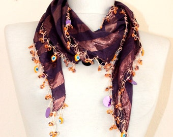 Turkish scarf //  cotton scarf // crochet scarf // purple scarf