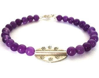 Amethyst and Tribe Hill Bead Bracelet, Amethyst Jewelry, Purple Bracelet
