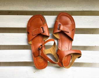 vintage cognac vegan sandals, slip ons, slingbacks, nonleather, womens shoes size 10