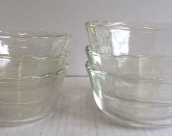 Vintage Fire King Custard Cups Set of Six Includes 3-6 Ounce #424 and 3-10 Ounce #425 Anchor Hocking