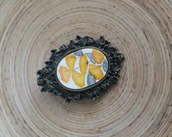 Scrimshaw Brooch Pin Lovely Yellow Flowers OOAK Great Gift Idea