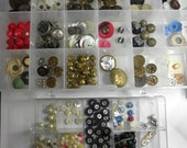 200 plus Buttons and Beads- Doll size, Shoe Buttons, Pearl, Metal, Glass,  and More