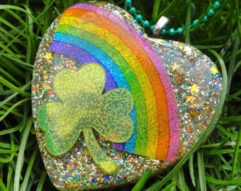 Holographic Rainbow & Shamrock Resin Pendant, Lucky Charm Shamrock St. Patty's Resin Heart Necklace, Rainbow Gold Star Glitter Resin Pendant