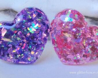 Purple Amethyst Opalescent Resin Heart Ring, Barbie Inspired Heart Jewel Tone Resin Statement Ring, Kawaii Opal Glitter Mermaid Heart Ring