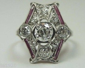 Antique Art Deco Vintage Diamond Ruby Platinum Engagement/Dinner Ring  Ring Size 5 UK-J1/2| RE: 812