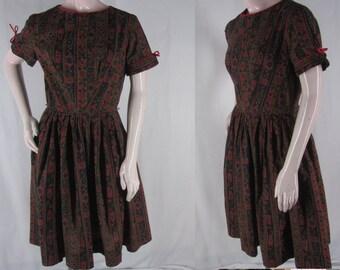 60s Dress Brown Striped Floral Gathered Waist Short Sleeve Lois Ann Jrs M