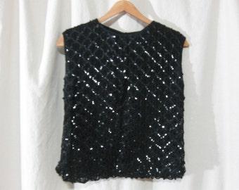 Vintage 50s 60s Stylebest Black Sequin Sleeveless Knit Sweater Shirt Blouse Large XLarge