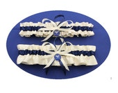 Ivory and Navy Blue Satin Air Force Wedding Garter Set  (Your Choice, Single or Set)