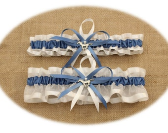 White and Slate Blue Wedding Garter Set with Mustang Charms