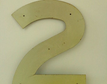 Industrial Sign , Industrial Wall Decor, Aluminum Numbers, Number 2, Large Numbers, Industrial Design
