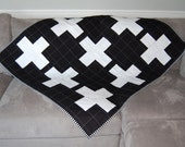SALE - Modern Quilt - Black and White Plus Signs - Baby Quilt, Toddler Quilt, Crib Quilt