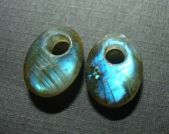 AAA, Spectacular Fiery Flashing Blue Labradorite Smooth Large Hole Oval Matching Pair, 12x16mm, n14-6