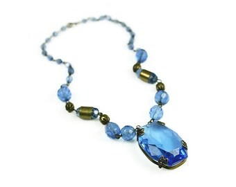 Art Deco Blue Czech Glass Necklace - Sapphire Blue, Blue Necklace, Czechoslovakia, Art Deco Jewelry, Antique Jewelry