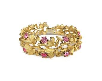 Pegasus Coro Bracelet, Pink Rhinestones, Gold Tone, Flower Petal, Vintage Bracelet, Retro Jewelry