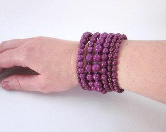 Beaded Bangle Bracelet -- Purple Stone Bracelet -- Coil Bracelet -- Violet Bead Bracelet -- Dark Wrap Bracelet -- Riverstone Bracelet