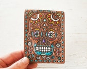 READY to SHIP Handmade Leather Wallet - Sugar Skull - Day of the Dead - Mexicali - Calvara - Mesa Dreams - Unisex wallet - Quick Gift