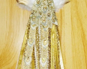 REDUCED Christmas Tree Topper, Gold Byzantine, Victorian Head, Feather Wings